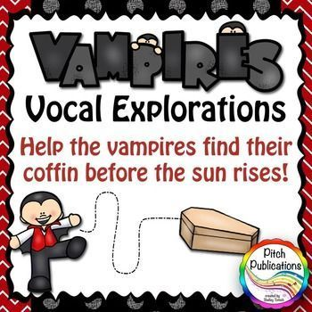 These area an adorable set of vocal explorations to get your kids in the mood!  Help the vampires locate their coffin before the sun rises!  #elmused #tptmusictribe #musictribe #musictpt #pitchpublications