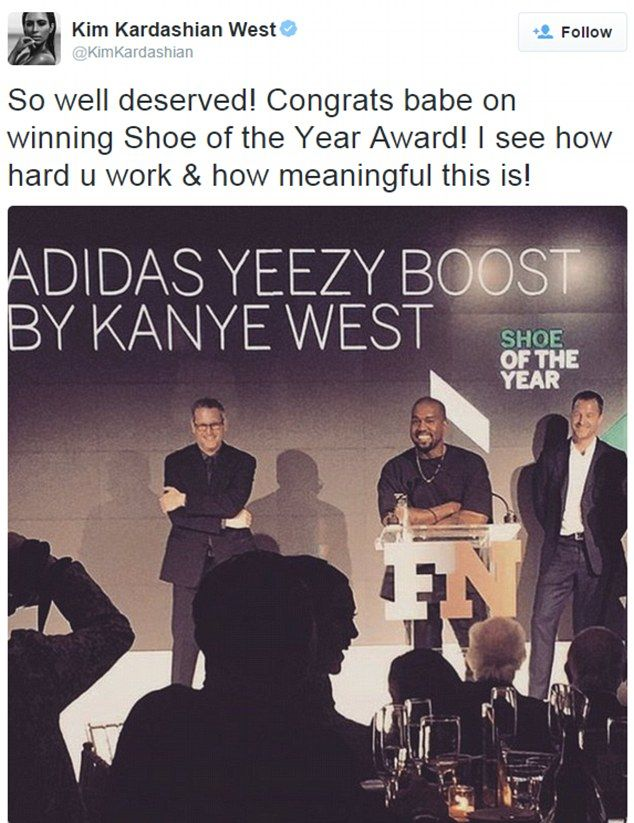 So proud: Kanye West collected a Shoe Of The Year Award for his Yeezy Boost in New York on Wednesday night and wife Kim Kardashian tweeted her congratulations