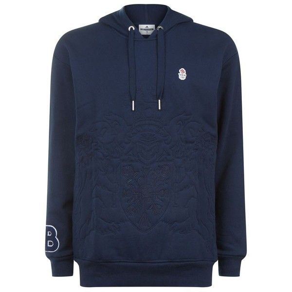 Adidas Originals Team GB Embossed Crest Hoodie ($97) ❤ liked on Polyvore featuring men's fashion, men's clothing, men's hoodies, mens sweatshirts and hoodies, mens hoodies and mens short sleeve hoodies