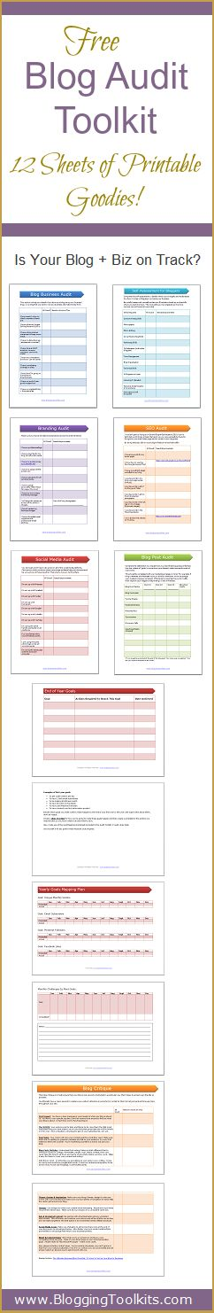 Is your blog + biz on track? Use these handy blog printable audit worksheets to help assess your blog strategies and systems. Reach your goals faster with these planner, goal printables, blog critique checklist and more.