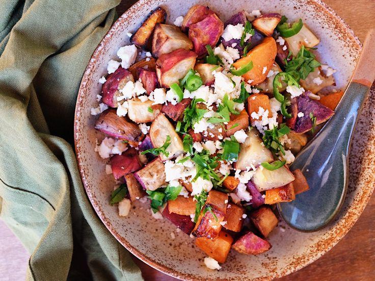 Roasted Sweet Potato Medley with Parsley & Feta