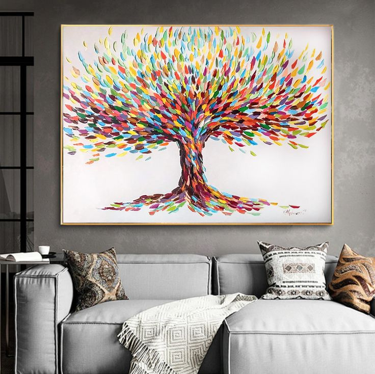 Original Tree Oil Painting On Canvas Colorful 40x30 Abstract Living Room Wall Art Contemporary Art Large Texture 30x40 Modern Painting In 2021 Oil Painting Abstract Oil Painting On Canvas Oil Painting