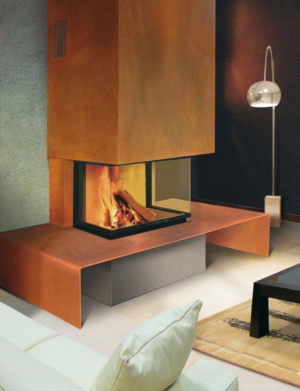 chemin e mecano en metal rouill socle en pierre de lave. Black Bedroom Furniture Sets. Home Design Ideas
