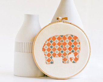 Cross stitch pattern PDF Cute bunny in purple by RedGateStitchery
