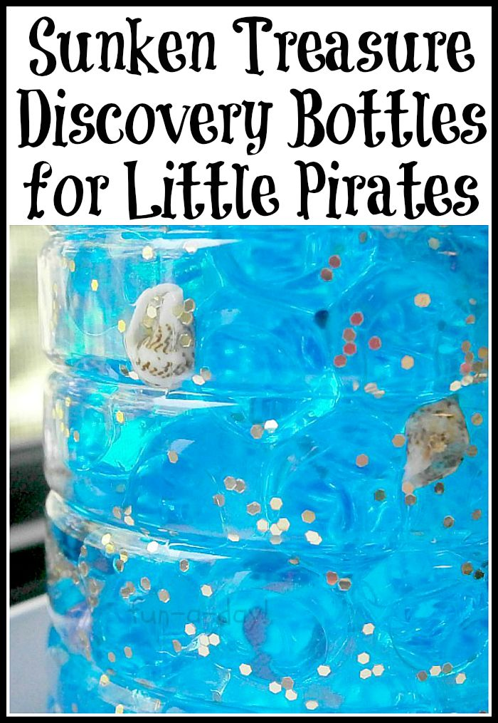 discovery bottles, preschool pirate theme, pirate theme discovery bottles, preschool summer camp themes, kids pirate activities, sensory activities