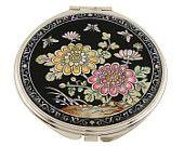 Mother of Pearl Makeup Mirror chrysanthemum Flower Design Cosmetic mirror Handbag Purse handheld Compact hand pocket Mirror
