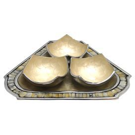 """Set of three handmade bowls with a Mother of Pearl-inlaid tray.  Product: 3 Bowls and trayConstruction Material: Aluminum and mother of pearlColor: Gold and whiteFeatures:  Hand-applied scallops of enamelMother of pearl inlay Dimensions: Tray: 1"""" H x 12"""" W x 12"""" DBowl: 2.5"""" H x 5"""" W x 5"""" D eachNote: For decorative use only"""