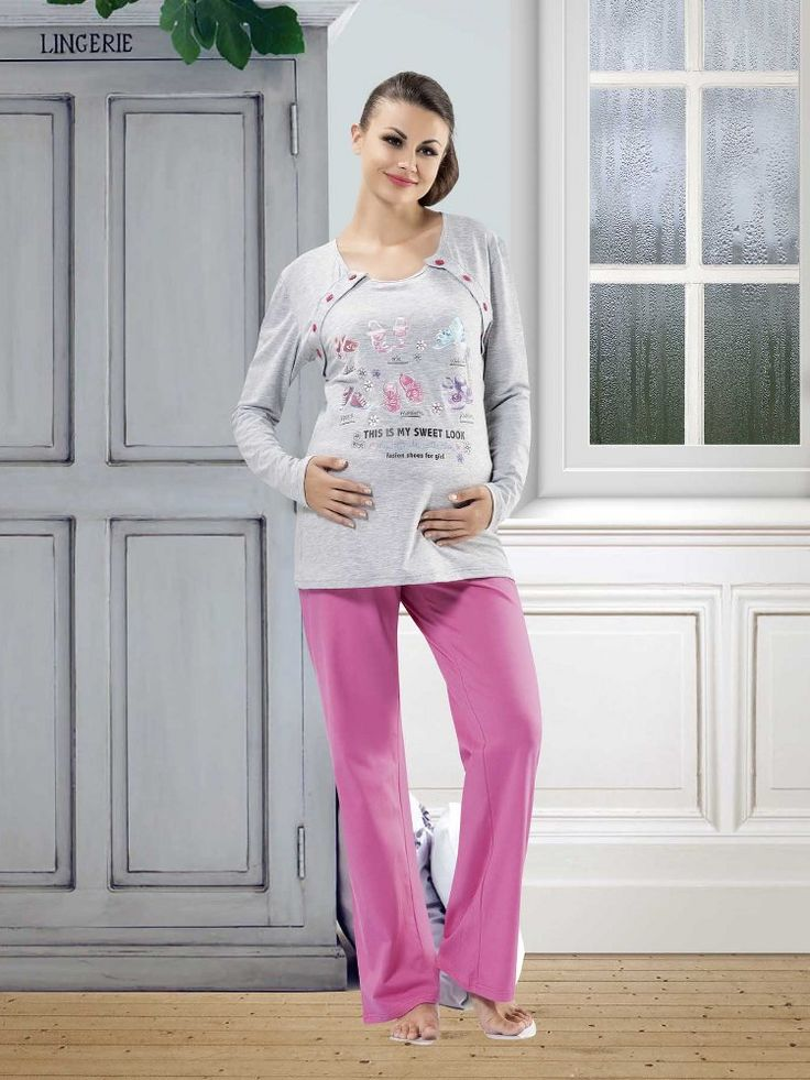 Gümüş Hamile Pijama Takım 9853; Uzun kollu, bisiklet yaka hamile pijama takım penye kumaştan üretilmiştir.