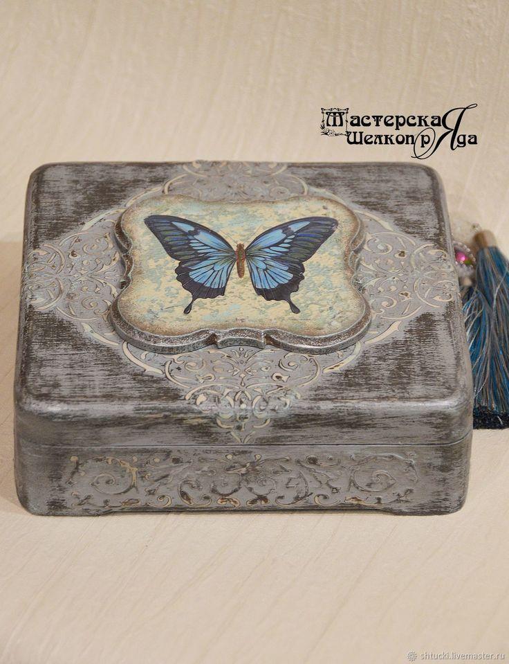 "Купить Шкатулка ""Batterflty"" - бабочка, винтаж, серый, шкатулка, подарок девушке, ручная работа"