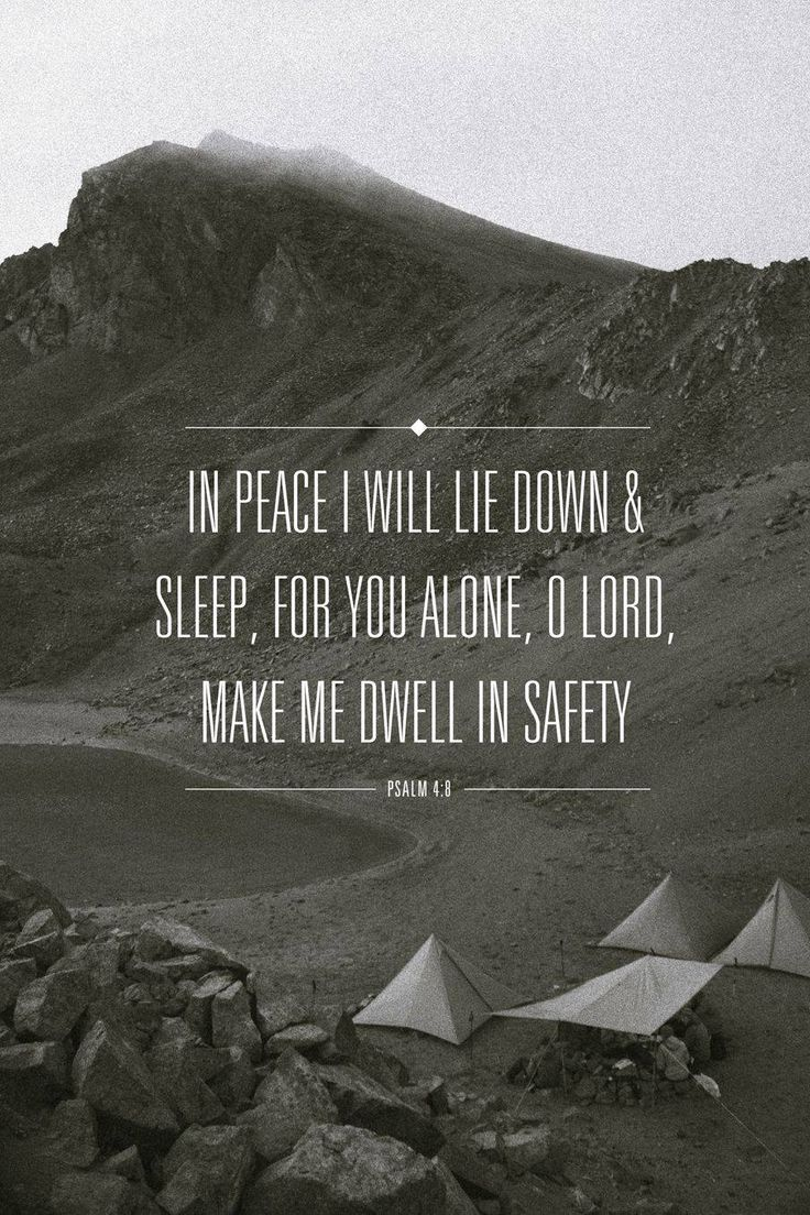 Psalm 4:8 In peace I will both lie down and sleep; for you alone, O Lord, make me dwell in safety.