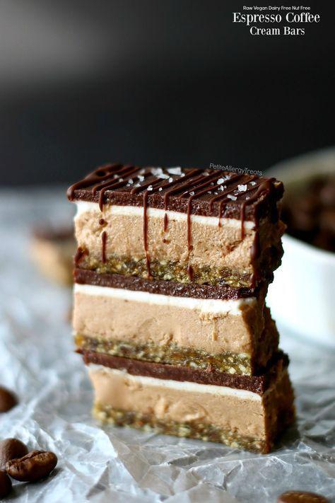 Easy vegan raw Espresso Coffee Cream Bars! Food Allergy friendly chocolate bar with gluten free nut free crust and dairy free coconut filling.