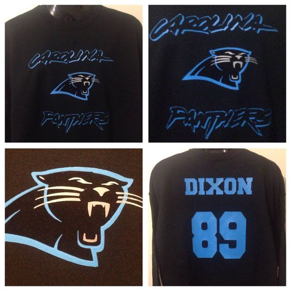 This is a one of a kind custom sweatshirt. A limited edition for the sport enthusiasts. Made with the finest fashion and specialty cadcut and stripflock vinyls. Looks good. Feels great. Durable and lasts many washes.     Team: North Carolina Panthers   Size: Xl  Color(s): Black  Fabric: 80% cotton 20% polyester blend  Condition: Brand New    This sweatshirt is 100% cotton are 80% cotton and 20% polyester.  Pre-shrunk, true to size.    Suggested Care Instructions:  Machine wash inside out, in…