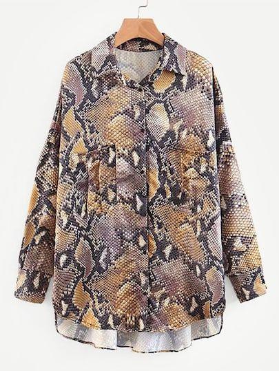 0f9adcb9b9a7 Snakeskin Print Drop Shoulder High Low Shirt #shein #sheinside #dresses  #fashion #cocktail_dresses, #partydresses, dresses,cocktail dresses, party  dresses, ...