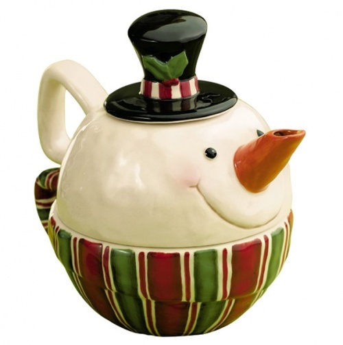 Snowman Stacked Tea for One.....teapot on top and cup on the bottom.