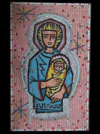 glass on concrete mosaic, Edward M. Catich (Madonna with Blonde Hair and Christ Child)