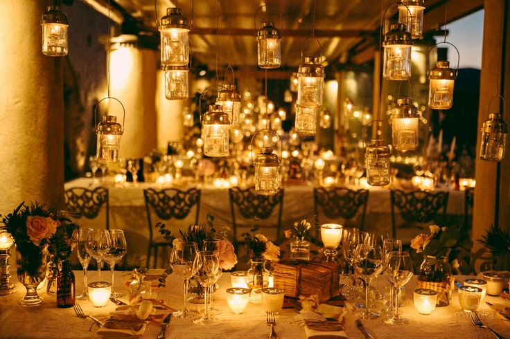 Under the magic lights...Beautiful decoration with suspended lanterns over the dinner table!