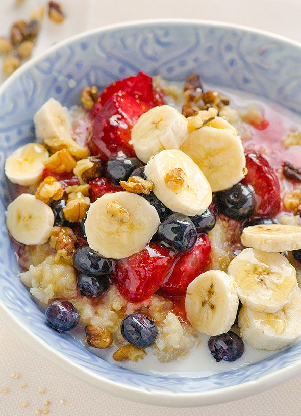 Breakfast Quinoa in a Slow Cooker is a healthy breakfast recipe with coconut milk, nuts and fruit. Wake up to a warm bowl of quinoa porridge. | ifoodreal.com