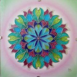 """Mandala -  na skle ručně malovaná autorská mandala """"Kouzel plná"""" * Glass Hand…"""
