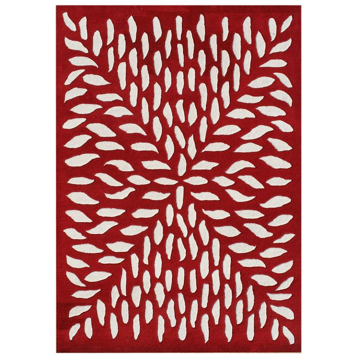 Liven up your decor with this handmade red wool rug. With its vibrant red and off-white design, this hand-carved contemporary rug will make an elegant statement in any room. This rug is crafted of New Zealand blended wool for durability.