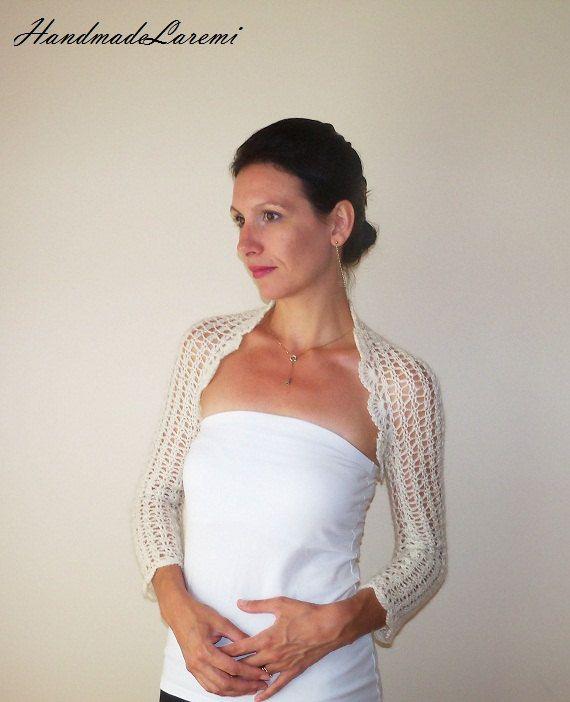 Ivory BRIDAL lace BOLERO Wedding Shrug hand by HandmadeLaremi, $97.00