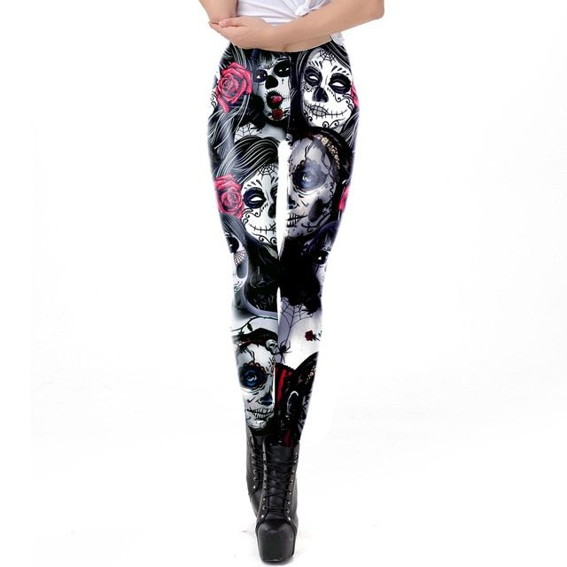 Women Skull Leggings Halloween Girl Rose Print Pants Workout Party Ankle Pant