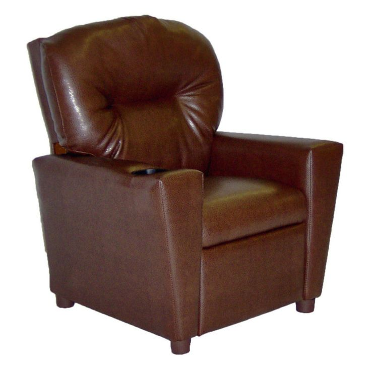 Dozydotes Kid Recliner with Cup Holder - Pecan Brown - DZD11534