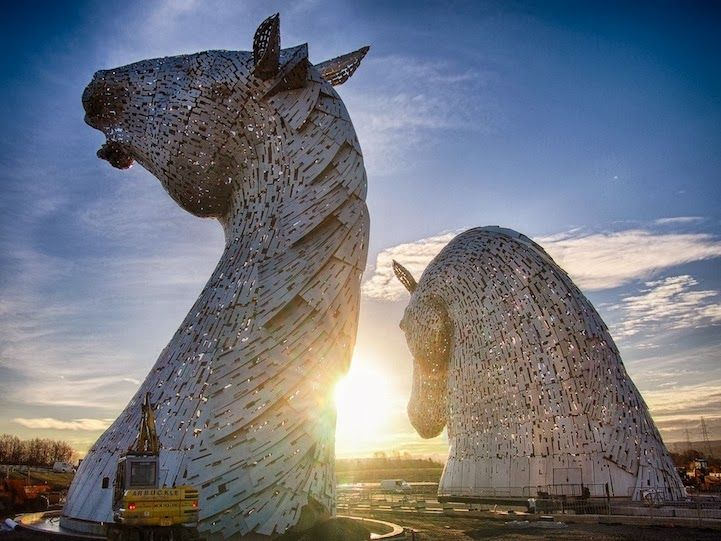 Best Sculptures By Andy Scott Images On Pinterest - Amazing horse head sculpture lights scottish skyline