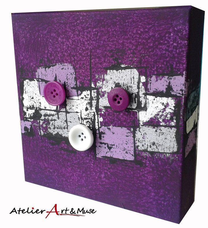 Toile aimantée, boutons aimantés,mauve, cadre, peinture abstraite, aimants, oeuvre unique, personnalisée, décoration de la boutique AtelierArtetmuse sur Etsy