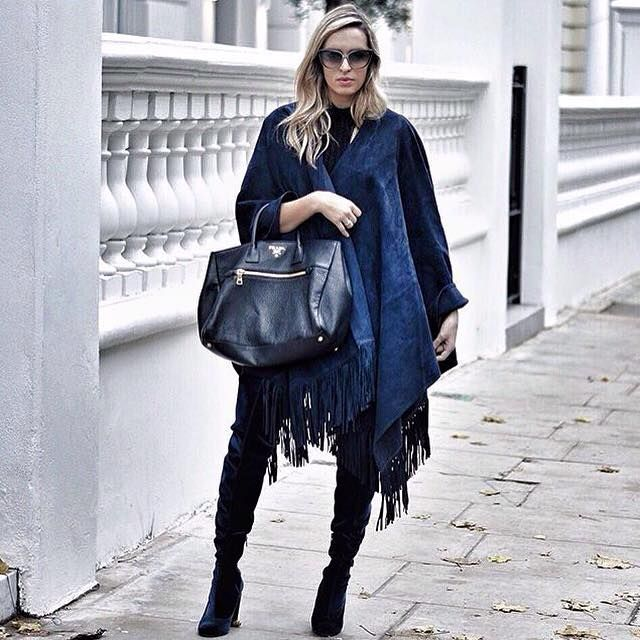 Camilla Carril in Kirei clothing poncho.  www.kireiclothing.com #AW15 #streetstyle