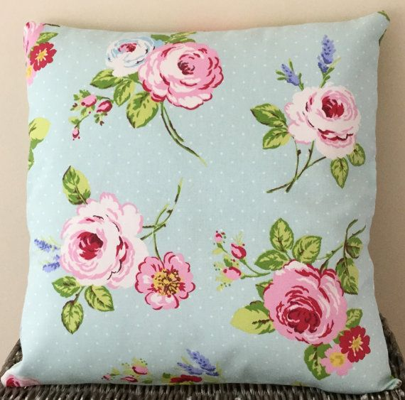 Pale turquoise cushion with pink and white roses lavender and