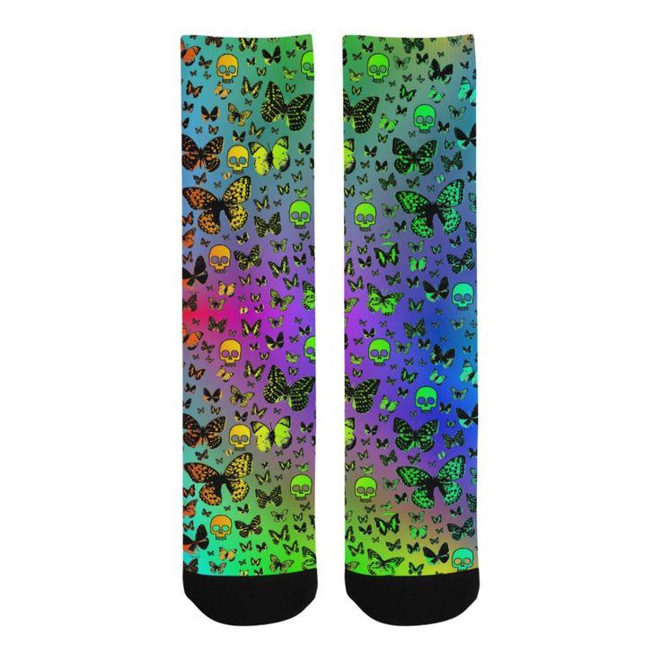 Rainbow Skulls & Butterflies Knee-High Socks