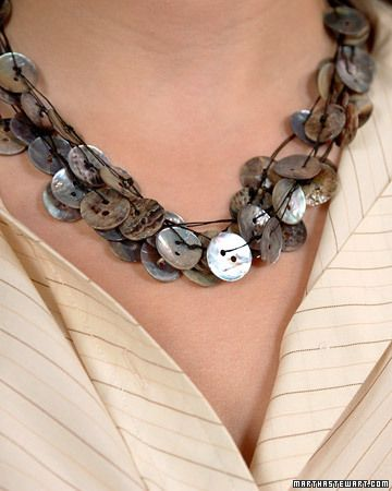 Love this necklace made from shell buttons!