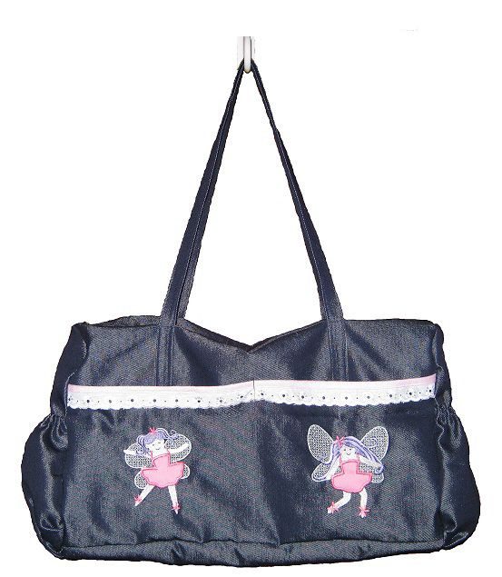 Baby bag made from denim type fabric with fairies embroidered on side pocket. The fairy designs were digitized by me