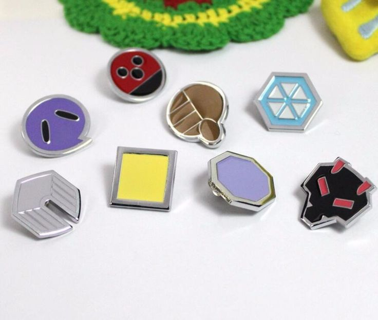 Pokemon Johto League Gym Badges Metal Pins