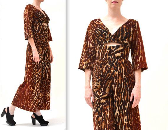 Vintage Animal Print Jumpsuit Size Small Medium by Hookedonhoney