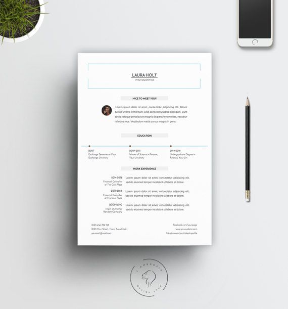 2 Page #Resume Template with Extra #Cover #Letter | Downloadable #Curriculum #Vitae Template