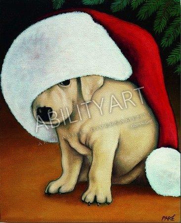 """Mariam PARE è originaria degli Stati Uniti. Ha creato l'opera """"Cucciolo con cappello"""", dipinta con l'utilizzo esclusivo della bocca. La tecnica utilizzata è quella ad olio; il formato originale è 26x21cm.  https://www.abilityart.it/natale-cucciolo-sotto-l-albero.html"""