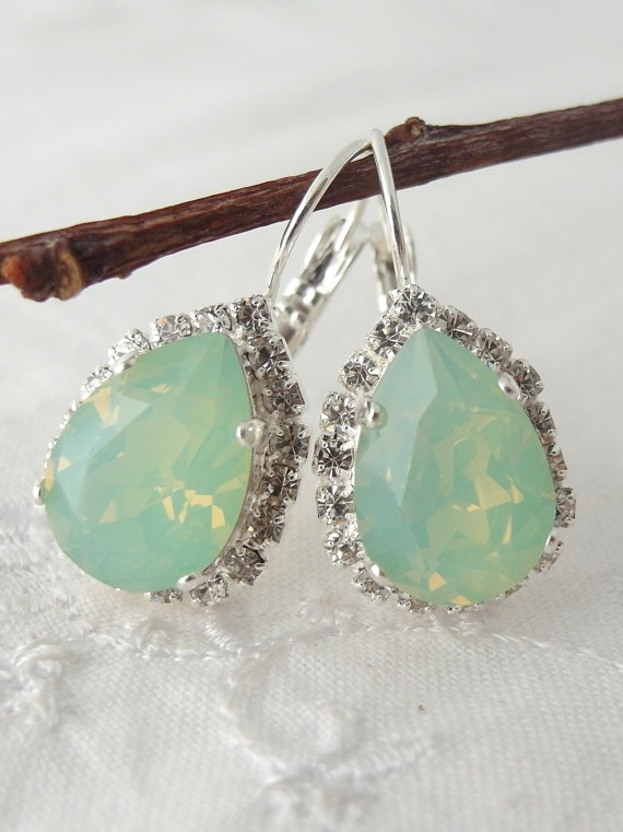 Mint green crystal Swarovski earrings Drop by EldorTinaJewelry, $48.00
