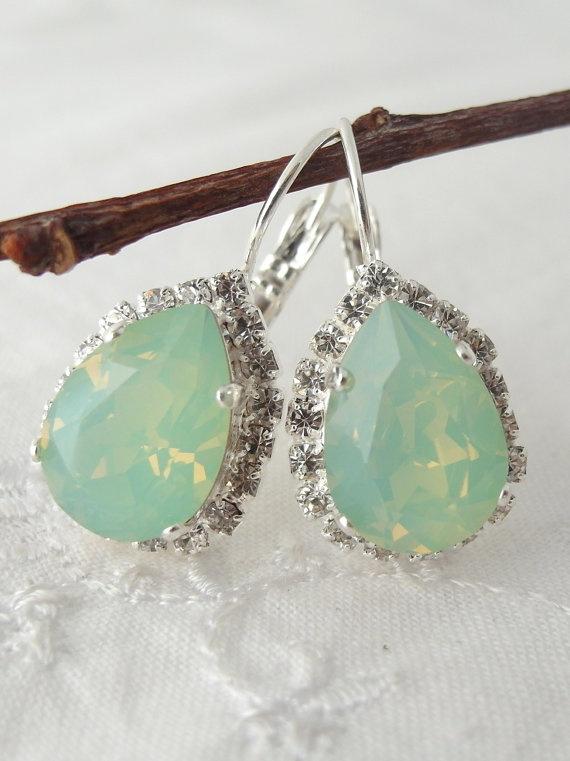 Mint green crystal Swarovski earrings Drop by EldorTinaJewelry, $48.00