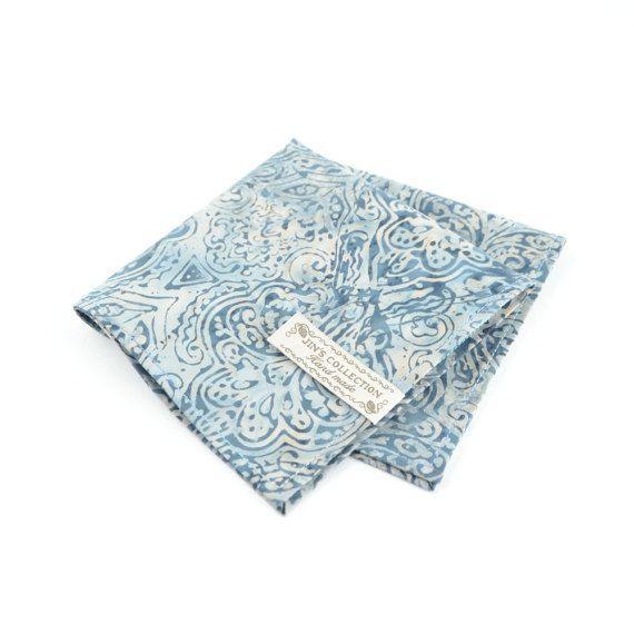 Baroque pattern cotton handkerchief with edge stitched. blue colour pocket squares for men. pattern pocket square for men, unique men gift