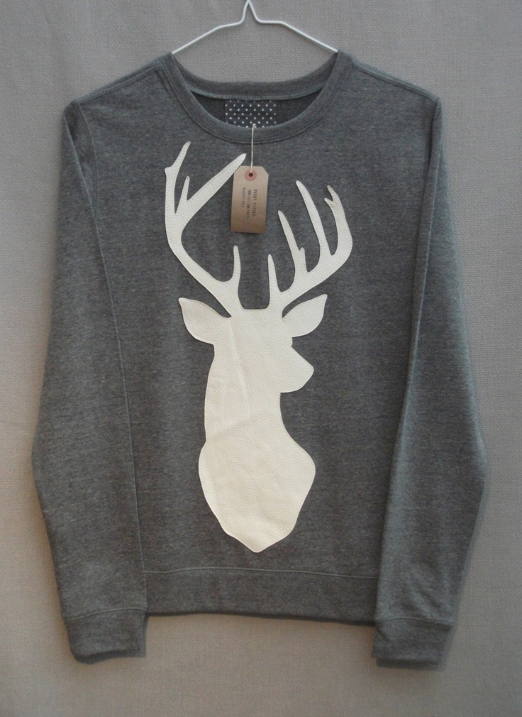 Leather Stag Deer Jumper Women's Grey Heather Lightweight Crew Neck Sweatshirt. £35.00, via Etsy.