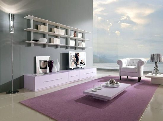 Decoration, The Great Design Of Cool Color For Room With Gray Wall Also  White Modular. Purple Living ...