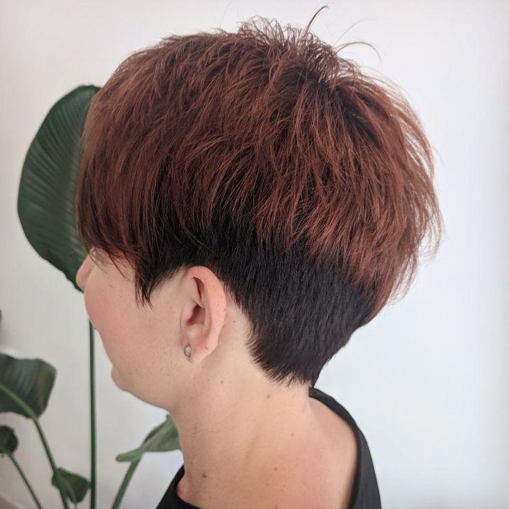 Pixie style cut, copper , brunette