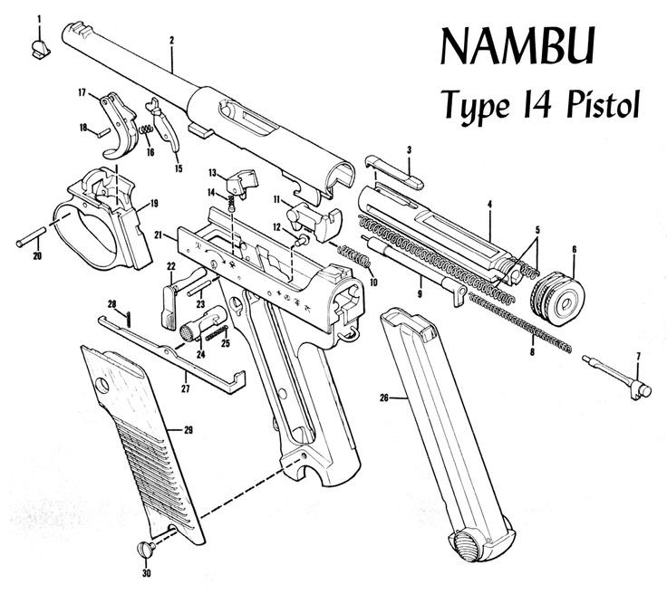 type 14 nambu exploded parts list