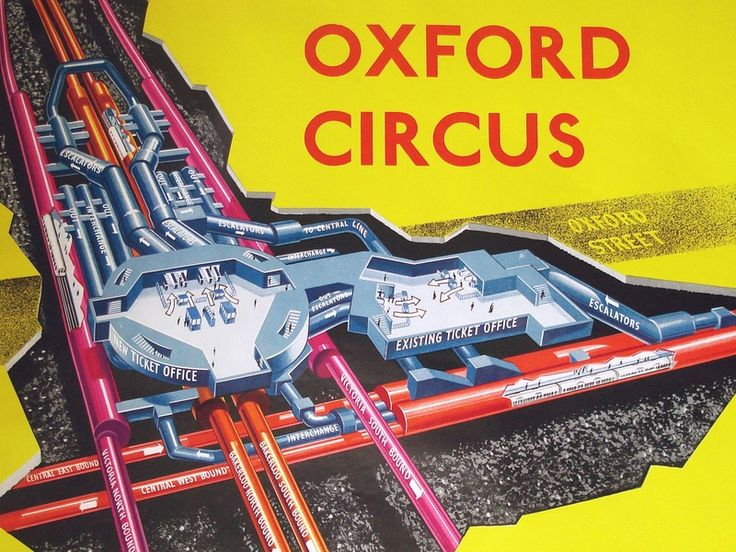 Detail of cutaway from a 1963 poster showing the rebuilding of Oxford Circus