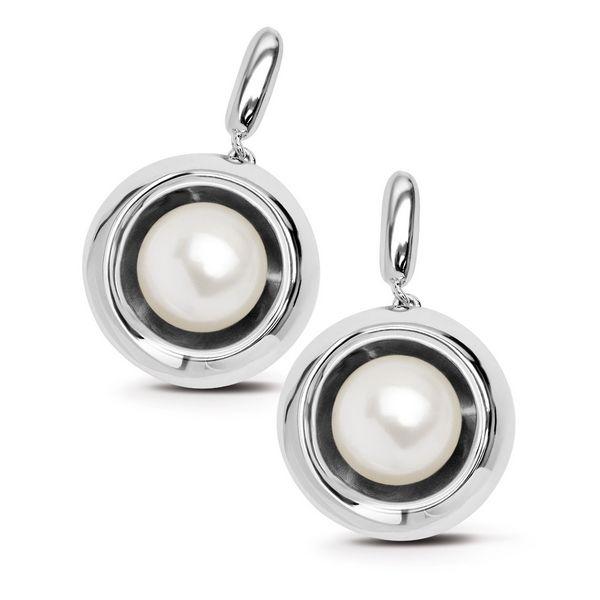 Kolczyki srebrne - okrągłe z naturalną perłą - Biżuteria srebrna dla każdego tania w sklepie internetowym Silvea