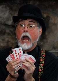 Doc Eason, renown bar-top magician. If you'd like to see something unique check out his Card under Glass routine. He repeats the effect five times!