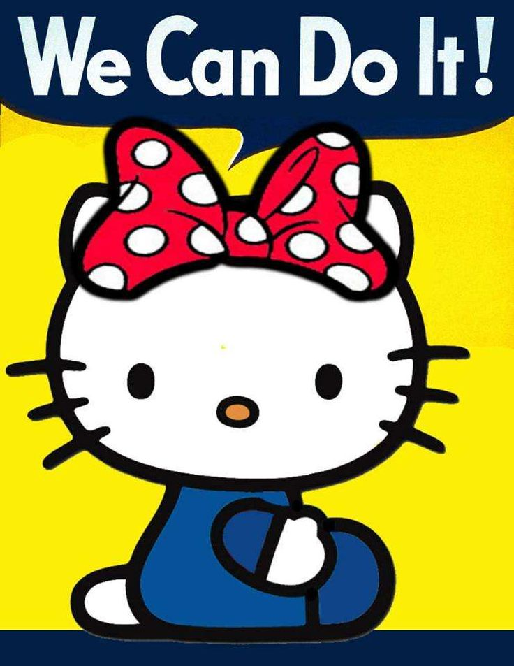 "Hello Kitty ""We Can Do It!"" poster. homage to Rosie the Riveter"