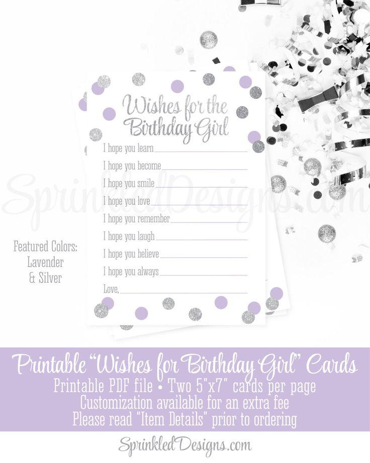 Birthday Wishes for Birthday Girl - Lavender Purple Gray Silver Glitter Printable Birthday Party 5x7 Cards - Printables Guest Book Keepsake by SprinkledDesign on Etsy https://www.etsy.com/listing/400368809/birthday-wishes-for-birthday-girl