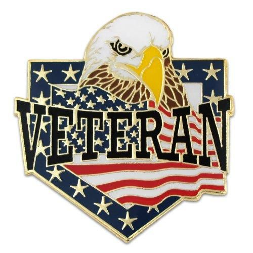 PinMart's Veteran American Flag Eagle Patriotic Enamel Lapel Pin